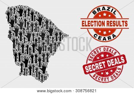 Electoral Ceara State Map And Seal Stamps. Red Round Secret Deals Scratched Seal. Black Ceara State