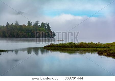 Fog On Lake Pleasant In Speculator New York, Adirondacks