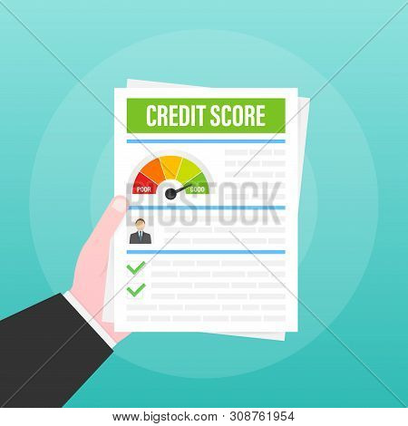 Credit Score Document. Paper Sheet Chart Of Personal Credit Score Information. Vector Stock Illustra