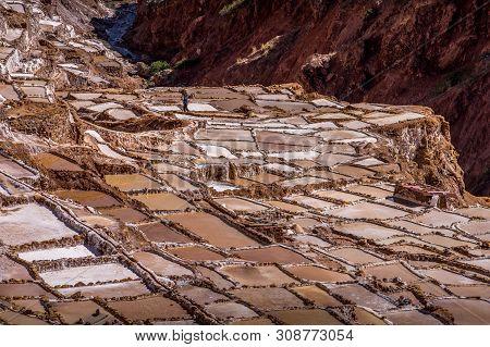 Salt Extraction Pans Salinas In Sacred Valley Of Incas, Peru
