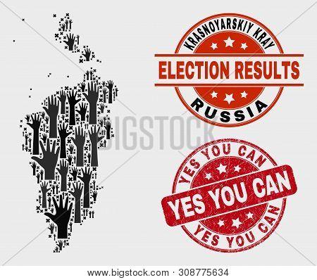 Electoral Krasnoyarskiy Kray Map And Seal Stamps. Red Round Yes You Can Scratched Stamp. Black Krasn