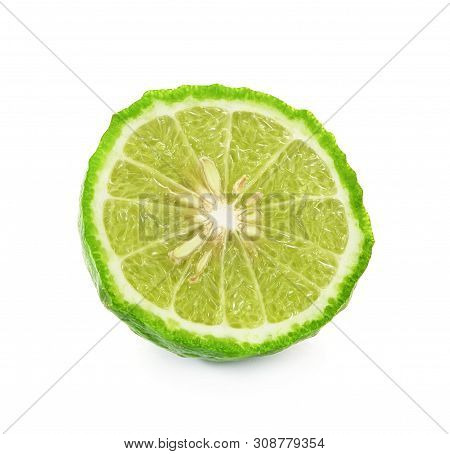 A Kaffir Lime Isolated On White Background