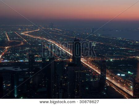 Skyscrapers in Dubai at night.