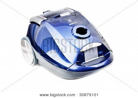Blue-gray Vacuum Cleaner Isolated On White Background
