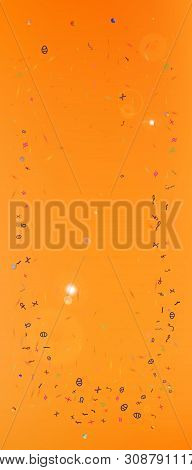 Breezy Space And Signs Confetti. Background Color. Usefull Colorific Illustration. Wonderful Colored