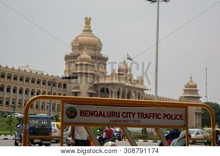 Bangalore, Karnataka India-june 04 2019 : Bengaluru City Traffic Police Barricate With Backdrop As V