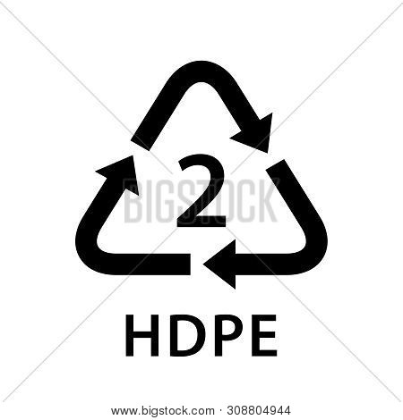 Recycle Arrow Triangle Hdpe Types 2 Isolated On White Background, Symbology Two Type Logo Of Plastic