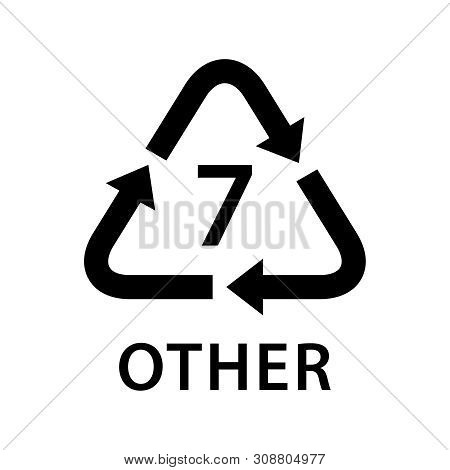 Recycle Arrow Triangle Other Types 7 Isolated On White Background, Symbology Seven Type Logo Of Plas