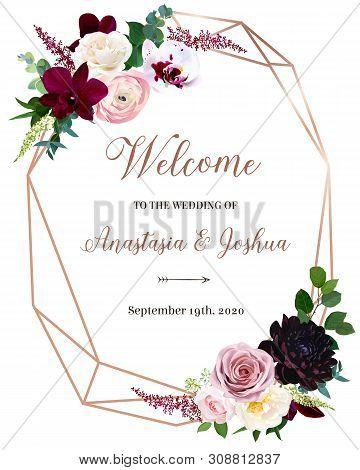 Dark Chic Fall Flowers Vector Design Frame. Orchid, Pink Ranunculus, Dusty Rose, Burgundy Red Dahlia
