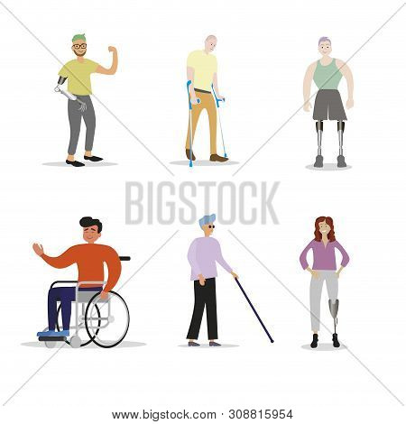 Disability People With Disabilities. Disabled With Prosthetic Leg And Arm, Blind And In Wheelchair.