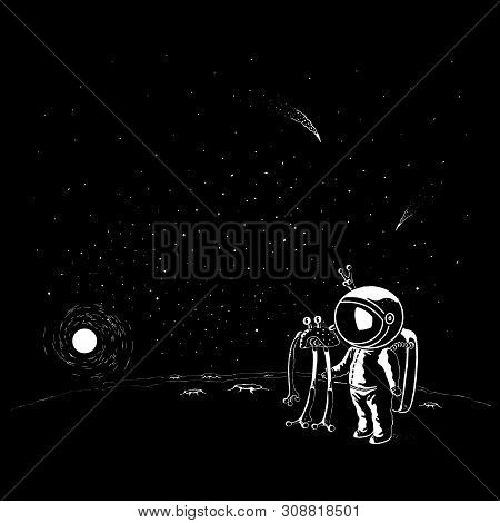 Doodle Style Ufo And Astronaut Vector Characters. Spaceman In Helmet And Spacesuit Meeting Galactic