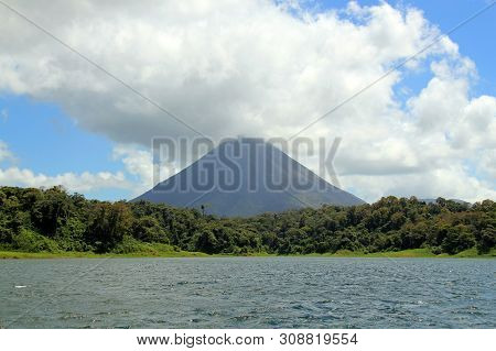 Arenal Volcano Viewed From Arenal Lake. La Fortuna, Costa Rica