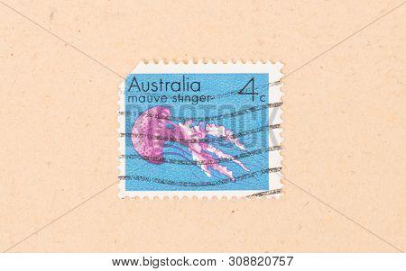 Australia - Circa 1980: A Stamp Printed In Australia Shows A Mauve Stinger, Circa 1980