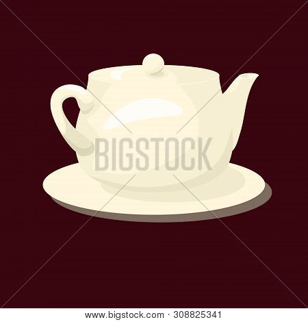 Porcelain White Teakettle. Made In Cartoon Flat Style