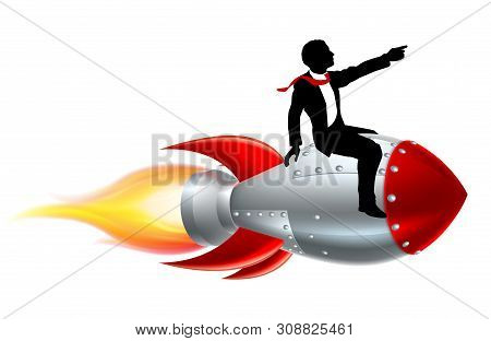 A Silhouette Businessman Riding A Rocket, Concept For Business Success Or Innovation