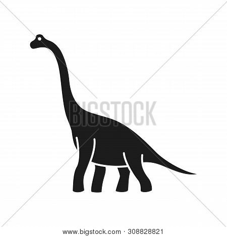 Brachiosaurus Vector Silhouette. Sauropod Dinosaur. Diplodocus Black Silhouette Isolated On White Ba