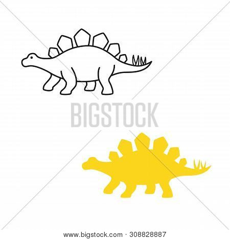 Stegosaurus Vector Silhouette And Contour. Dinosaur Stegosaurus Isolated On White Background