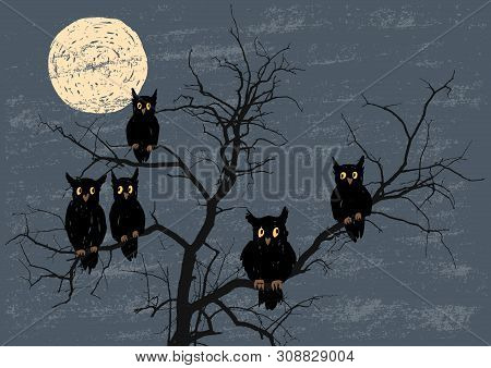Vector Illustration Of The Owls Sitting On The Tree Branches In The Halloween Moonlit Night