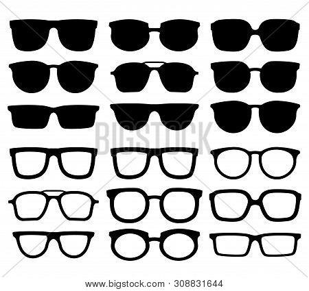 Glasses Silhouette. Geek Eyewear, Cool Sunglasses And Eyeglasses Silhouettes. Elegance Glasses Or Ge