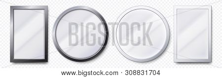 Realistic Mirrors. Metal Round And Rectangular Mirror Frame, White Mirrors Template. Makeup Or Inter