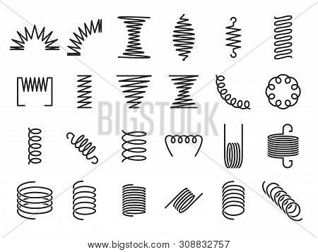 Spring Coils. Metal Spiral Springs, Metallic Coil And Linear Spirals Silhouette. Vape Or Machine Ste