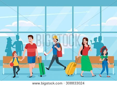 Busy Airport Terminal. Business Travelers, Family Vacations Travel And Traveler Waiting At Airports