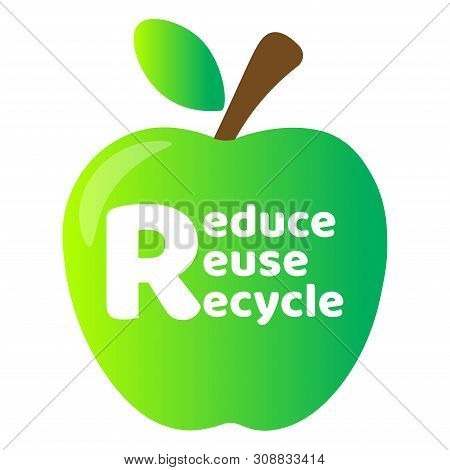 Zero Waste Lettering Text Sign Or Logo With Green Apple On The Background. Waste Management Concept.