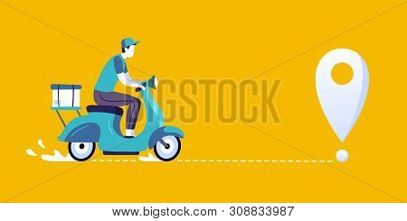 Delivery Man On Scooter. Food Deliveries Courier, Delivering On City Bike And Delivery Route. Meal L