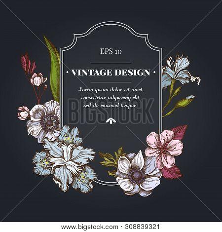 Dark Badge Design With Anemone, Iris Japonica, Sakura Stock Illustration