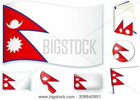 Nepal. Nepali Flag Wave, Book, Circle, Pin, Button, Heart And Sticker.