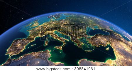 Planet Earth With Detailed Relief At Night Lit By The Lights Of Cities. Europe. Mediterranean Sea. 3
