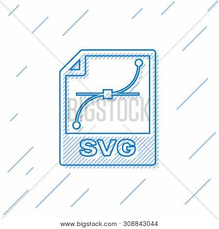 Blue Svg File Document Icon. Download Svg Button Line Icon Isolated On White Background. Svg File Sy