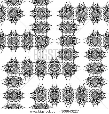 Design seamless monochrome zigzag pattern. Abstract lacy background. Vector art poster
