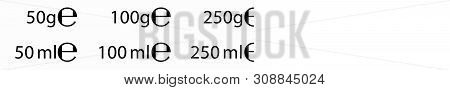 E Sign (e-mark) For Estimated Weights And Volumes. Vector Symbol For Packaging And Labels Used In Th