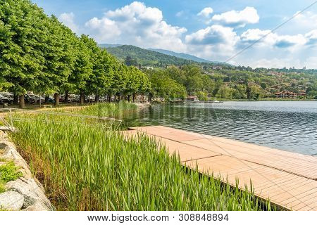 Lakefront Of Gavirate, Located On The Coast Of Lake Varese, Italy