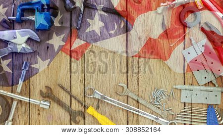 Set Of Tools On Wooden Background Concept Father Day And Labor Day Background.