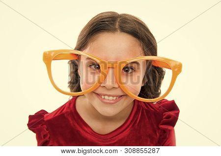Eye Exercises To Improve Eyesight. Girl Kid Wear Big Eyeglasses. Eyesight And Health. Optics And Eye