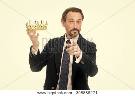 Enormous privilege. Become king ceremony. King attribute. Become next king. Monarchy family traditions. Man nature bearded guy in suit hold golden crown symbol of monarchy. Direct line to throne. poster