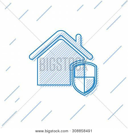 Blue House under protection line icon isolated on white background. Home and shield. Protection, safety, security, protect, defense concept. Vector Illustration poster