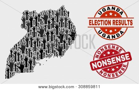 Election Uganda Map And Seals. Red Rounded Nonsense Textured Seal. Black Uganda Map Mosaic Of Raised