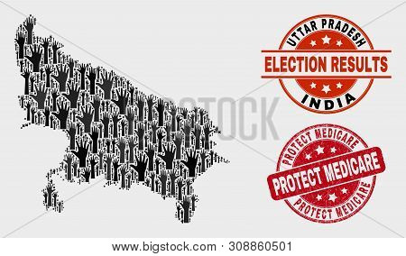Election Uttar Pradesh State Map And Watermarks. Red Rounded Protect Medicare Grunge Stamp. Black Ut