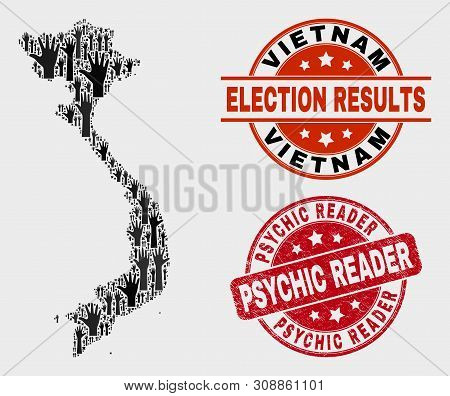 Election Vietnam Map And Watermarks. Red Rounded Psychic Reader Scratched Seal. Black Vietnam Map Mo