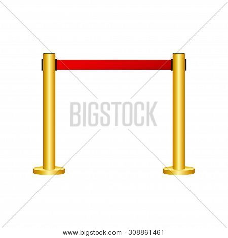 Red Carpet With Red Ropes On Golden Stanchions. Exclusive Event, Movie Premiere, Gala, Ceremony, Awa
