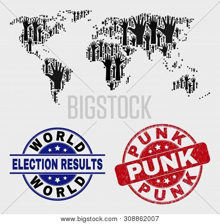 Democracy World Map And Watermarks. Red Rounded Punk Grunge Seal Stamp. Black World Map Mosaic Of Ra