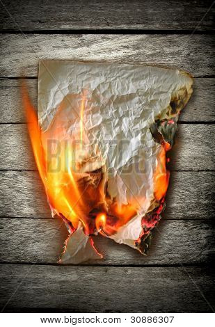 this is Burning paper on wooden wall poster