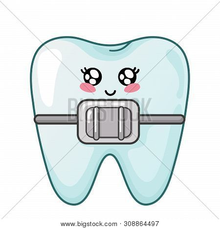 Healthy Kawaii Tooth With Dental Braces, Cute Cartoon Character, Concept Of Dentistry And Orthodonti