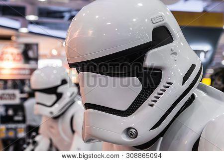 Singapore-09 Sep 2017: Storm Trooper Soldier Figure Display Set Closeup View