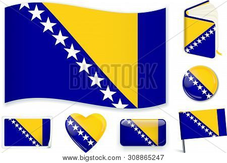 Bosnian National Flag Vector Illustration In Different Shapes.