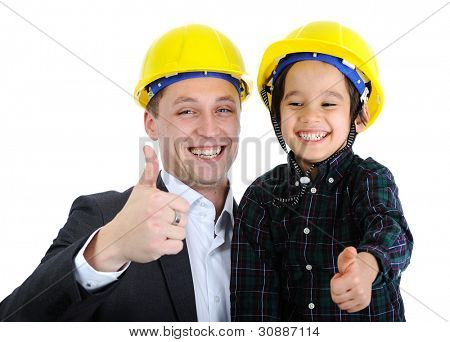 Father and son as workers with thumb up