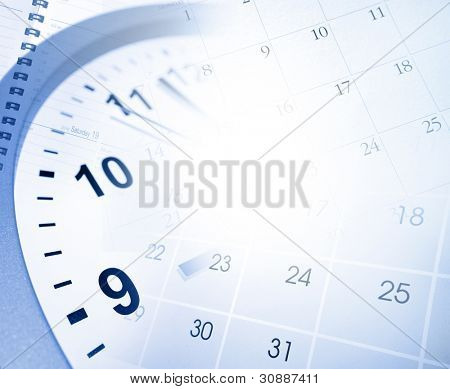 Clock face and calendar pages